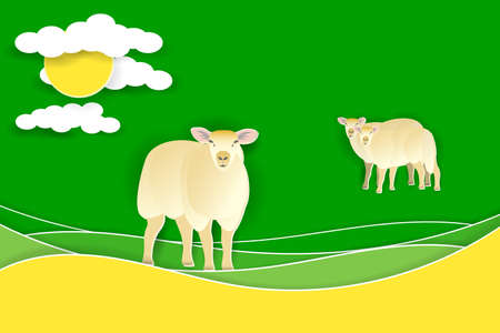 Sheep on a green meadow. Paper cut shapes and layers. Vector EPS10