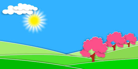 Spring rural landscape with green hills and fruit trees. 3D paper cut style for countryside design. Vector EPS10 Illustration