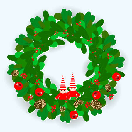 Christmas wreath decorated with cones of a fir-tree and pine, red berries and gnomes. Vector illustration EPS10 向量圖像