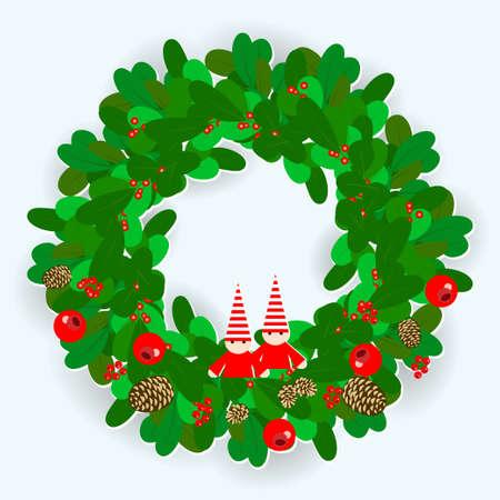 Weihnachtskranz verziert mit Zapfen eines Tannenbaums und einer Kiefer, roten Beeren und Zwergen. Vektorabbildung EPS10 Vektorgrafik