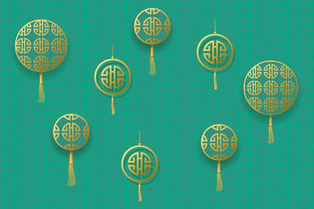 Golden round frames for text. Design for Chinese New Year. Vector illustration EPS10 Ilustrace