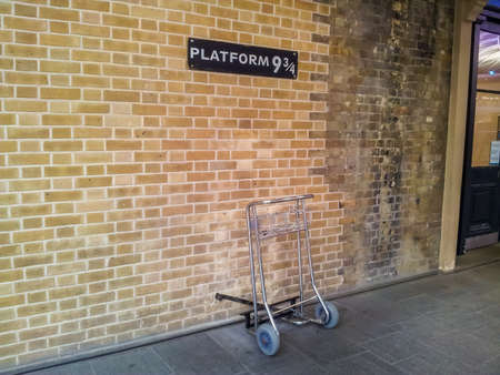 Baggage trolley at the Platform 9 and 3/4 at Kings Cross Railway Station, London