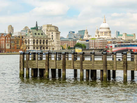 View of the Victoria Embankment and St. Pauls Cathedral. Cityscape view of London, UK