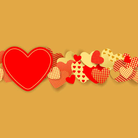 Valentine's Day background. Red and gold paper hearts. Vector illustration EPS10
