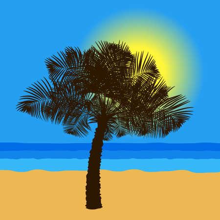 Palm tree on the sea coast at sunset. Vector illustration EPS10
