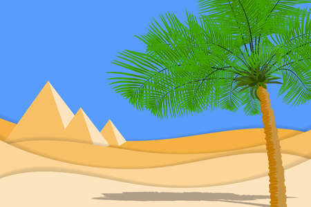 Desert landscape with palms, sand desert and pyramids. Paper cut shapes and layers as desert design. Vector EPS10 Illustration