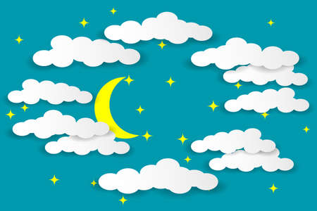 Multilayered night sky. White clouds, moon and stars on a blue background. Paper cut style. Vector illustration EPS10
