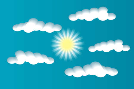 Multilayered day sky. White clouds and sun on a blue background. Paper cut style. Vector illustration EPS10