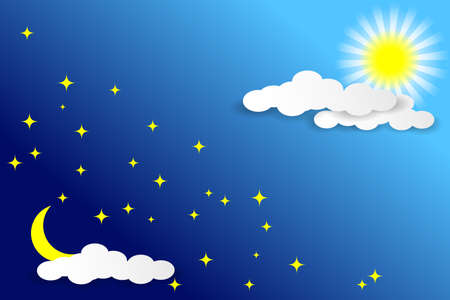 Day and night sky. White clouds, sun, moon and stars on a blue background. Paper cut style. Paper cut style. Vector illustration EPS10 Иллюстрация