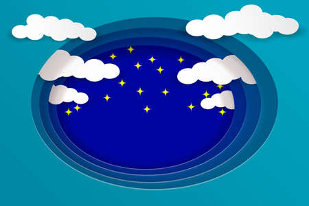 Multilayered night sky. White clouds and stars on a blue background. Paper cut style. Vector illustration EPS10