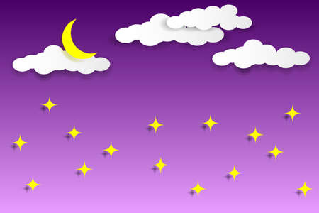 Multilayered night sky. White clouds, moon and stars on a violet background. Paper cut style. Vector illustration EPS10