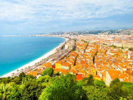 Aerial view of Nice coastline. Cote d'Azur beachfront, Nice, France