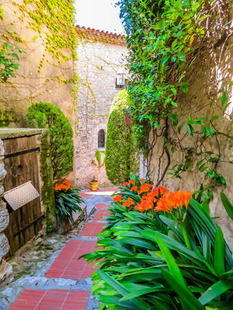 Ancient streets of the Eze village. Provence, France