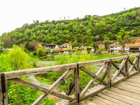 Vladishki Bridge or Bishop`s Bridge, medieval bridge through the River Yantra. Veliko Tarnovo, Bulgaria Stock Photo - 126223175