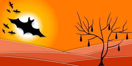 Scary Halloween Night. Silhouette of bats and full moon.