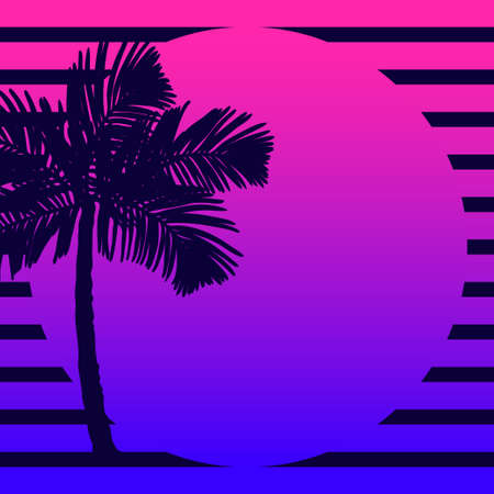 Palm trees silhouettes on the sunset background. Illustration