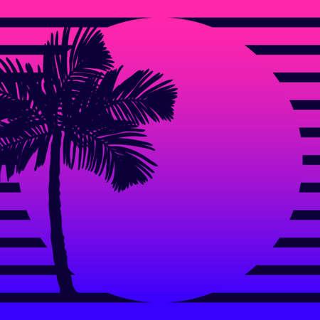 Sagome di palme sullo sfondo del tramonto.