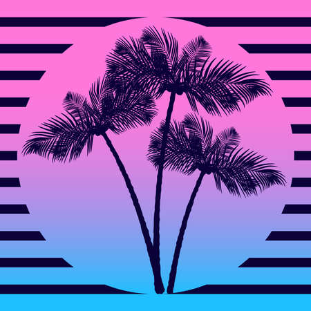 Palm trees silhouettes on the sunset background. Standard-Bild - 131438810