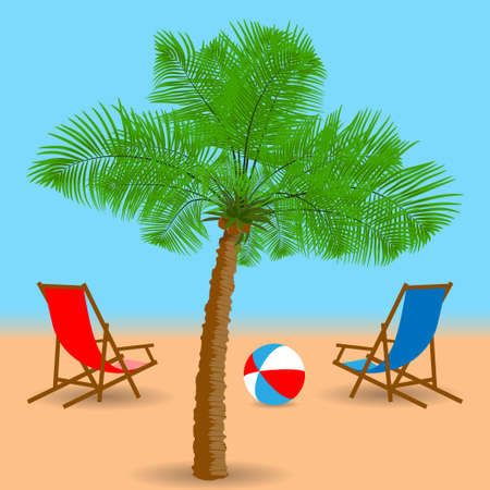 Palm tree, beach chairs and ball on the beach. Vector illustration EPS10 Vettoriali