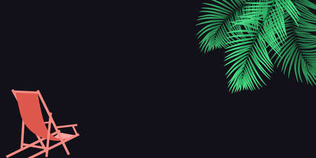 Vector background with palm tree leaves, beach chair and space for text Standard-Bild - 131438821