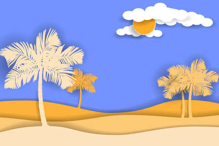 Palm trees silhouettes at desert background. Standard-Bild - 131438838