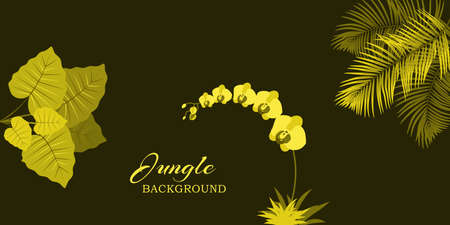 Vector background with palm tree, blossoming orchid, tropical plant space for text Standard-Bild - 132405947