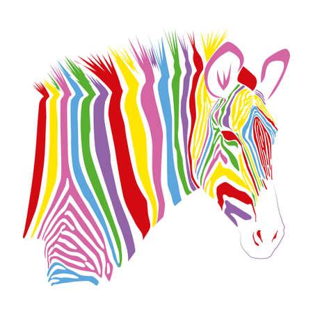 Colorful striped Zebra isolated on white background. Vector illustration EPS10 Standard-Bild - 132559108