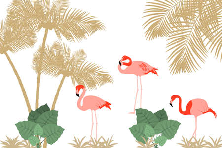 Tropical background with flamingos, palm trees and jungle plants. Vector EPS10 Standard-Bild - 132641795