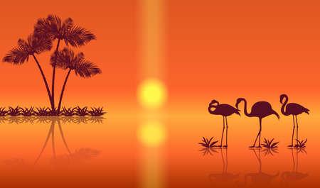 Sunset landscape with flamingos silhouettes. Vector Standard-Bild - 134391410