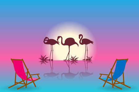 Sunset landscape with flamingos silhouettes. Vector EPS10 Standard-Bild - 132803030