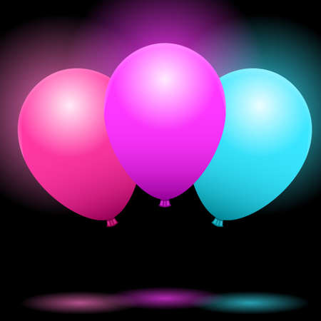 Bunch of the flying balloons for a party, congratulations or celebrations card. Multicolored balloons with shadows and highlights on black background Standard-Bild - 134391411