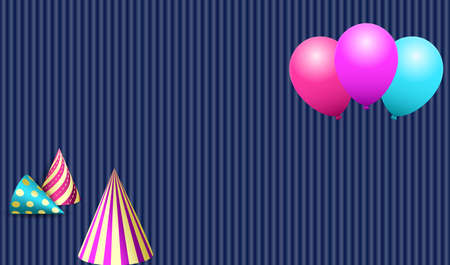 Helium balloons and birthday party hats. Design for greeting card, congratulations, invitations. Vector illustration Standard-Bild - 134391412