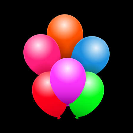 Bunch of the flying balloons for a party, congratulations or celebrations card. Multicolored balloons with shadows and highlights on black background Standard-Bild - 134391413