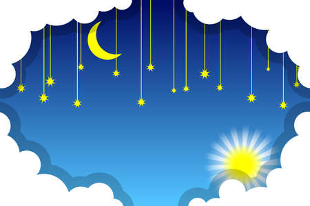Day and night sky. White clouds, sun, moon and stars on a blue background. Paper cut style. Vector illustration Standard-Bild - 134391416