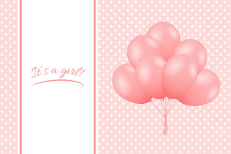 It's a Girl. Baby girl shower card. Greeting card with balloons. Vector Standard-Bild - 134391420
