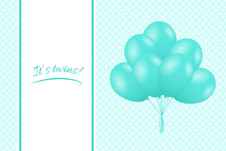 It's Twins. Baby twins shower card. Greeting card with balloons. Vector Standard-Bild - 134391421