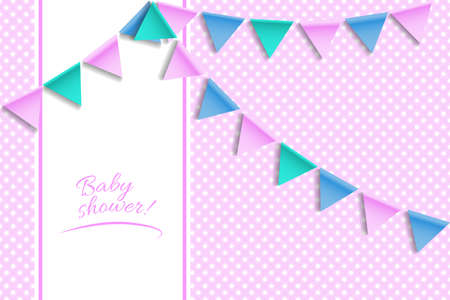 Baby shower card. Greeting card with balloons and bunting flags. Vector Standard-Bild - 134391422