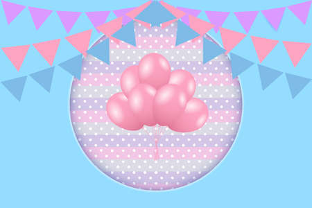 Birthday greeting card with bunting flags and balloons. Vector EPS10 Standard-Bild - 134538468