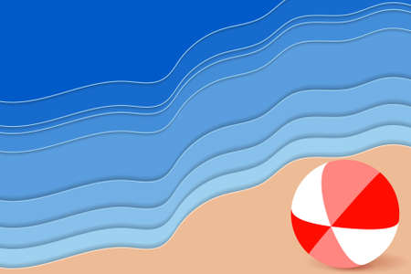 Summer Beach. 3D carving art. Paper layers as sea waves and bright ball. Vector illustration Standard-Bild - 134818717