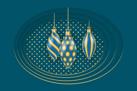 Greeting card for Christmas and New Year. Golden christmas decorations. Vector illustration Standard-Bild - 134818718