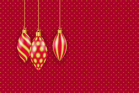 Greeting card for Christmas and New Year. Golden christmas decorations. Vector illustration Standard-Bild - 134818719