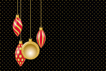 Greeting card for Christmas and New Year. Golden christmas decorations. Vector illustration EPS10 Standard-Bild - 134608983