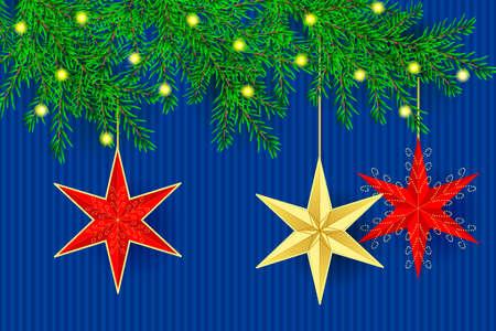 Christmas greeting card. Golden christmas stars on the fir tree branches. Vector illustration EPS10 Standard-Bild - 134952330