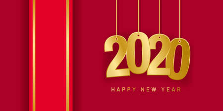 Greeting card for Christmas and New Year. Number 2020 and red ribbon. Vector illustration Standard-Bild - 135351633