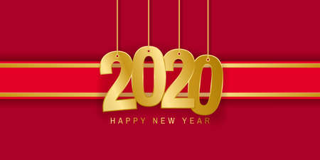 Greeting card for Christmas and New Year. Golden number 2020 and red ribbon. Vector illustration Standard-Bild - 135351635