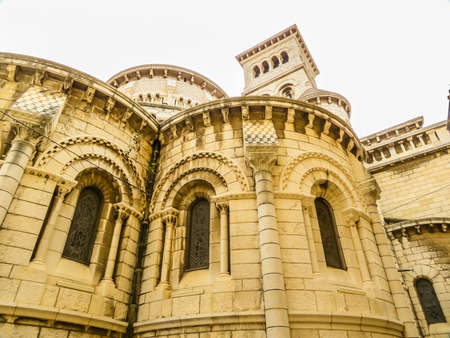 Saint Nicholas Cathedral or Cathedrale de Monaco, Romanesque Catholic cathedral dedicated to Saint Nicholas, dating from the 19th century. Standard-Bild - 136681205