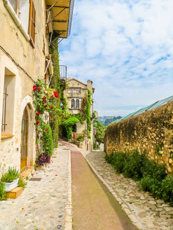 Narrow streets surrounded by medieval walls. Saint-Paul de Vence, France