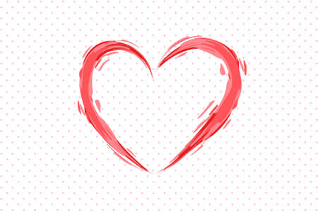 Pink heart drawn with brush for Valentine's Day greeting card. Vector illustration EPS10 Standard-Bild - 137070669