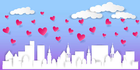 Valentines Day Greeting Card. Silhouette of a cityscape and pink flying hearts. Vector illustration EPS10 Standard-Bild - 137436951