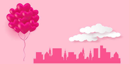 Valentines Day Greeting Card. Silhouette of a cityscape and pink flying hearts balloons. Vector illustration EPS10 Standard-Bild - 137438550